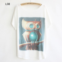 Free Shipping New Style Women's Batwing Short Sleeve T-shirt Cotton Alien Owl Printing T shirt Women 51552