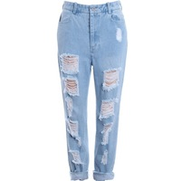 Women's Vintage High Waist Ripped Destroyed Hole Washed Out jeans Denim Distressed punk rock trousers pants