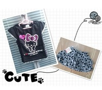 2013 New 100% cotton 1 Set Retail kids clothing set,T-shirt+skirt,hello kitty children set,Girls' Cartoon Suits,Short Sleeves