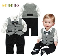 1pcs  Baby Romper New Baby boys set  Romper Gentleman modelling infant long sleeve climb clothes kids body suit AHY023