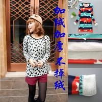 Plus velvet thickening berber fleece women's basic shirt autumn and winter medium-long slim o-neck long-sleeve thermal t