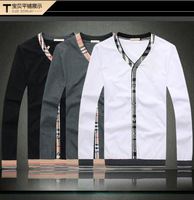 Free Shipping New 2014 Classic grid famous Brand Designer spring autumn Men Cotton T Shirts Casual Long Sleeve T-shirt  XXXL