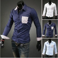 Spring 2014 new men's hit color stripe casual long sleeve shirt