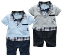 Free shipping 2014 summer Retail Baby infant romper with plaid shirt and V-neck Short-sleeved boys jumpsuit in preppy style