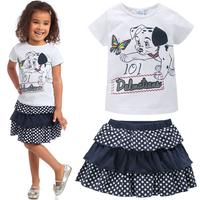 fashion 2014 new summer kids girls clothoing sets t-shirt + cake skirt 2pcs baby toddler suit free shipping