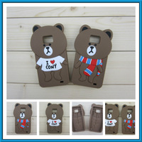 Cute Bear Caes Silicone Case For Samsung Galaxy S2 SII  I9100 3D Caes Back Covers Protective Case