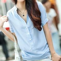 New 2014 women Summer Blouse Chiffon blouse render solid falbala short-sleeve Korea Fashion OL plus size  5 color S-3XL