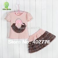 Retail children clothing sets  kids cothing sets 2014 summer leopard striped/zebra print short sleeves Tee+ skirt  TLZ-T0237
