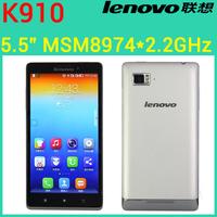 Original Lenovo Vibe Z K910 phone 5.5 inch FHD Snapdragon 800 Quad Core 2.2GHz 5.5  Dual SIM GPS WCDMA Five-Band 13.0MP Camera
