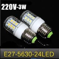 Free shipping New arrival  LED bulb  SMD 5630 E27  3w led corn bulb lamp, 24LED Warm white /white led lighting