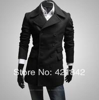 Free shipping men rench coat / long double-breasted wool coat/jacket black/gray promotion cheap winter long coat size M L XL XXL