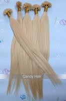 6A top quality blonde brazilian hair brazilian virgin hair straight keratin u stick u tip hair extensions queen hair products