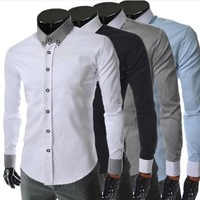 2014 new spring men's casual hit color long sleeve shirt