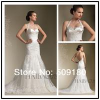2014 elegent high quality white halter neck customized floor length mermaid wedding gown designPX079 sexy backless wedding dress