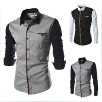 Spring 2014 new men's splicing sleeve design leisure long sleeved shirt