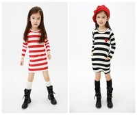 Free Shipping! 2 Colors New 2014 Spring and Summer European and American Style Long-sleeved Striped Children Girl Dress 1218