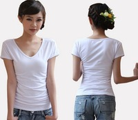 2014 summer new design lycra brand Women Short sleeved T Shirts,White 100% Modal Cotton Lady Fashion V-Neck Ladies T shirts