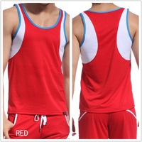 Free shipping sexy tank top mens for gym men white red vest bodybuilding T-shirt undershirt in top quality t-shirt men brand