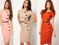 Free Shipping,Hot Sell,New Tops Blouse,Women Zipper Back Puff Long Sleeve Stand Collar Empire Waist Cute Shirt Dress S,M,L,XL