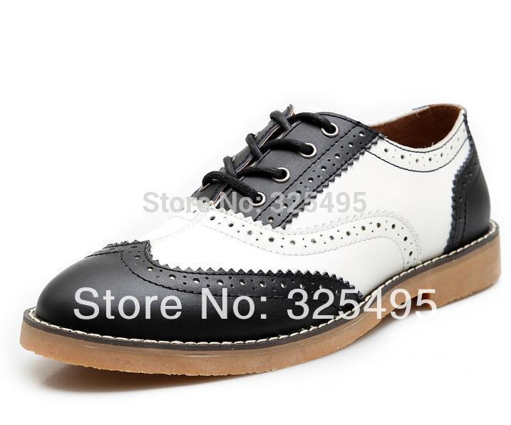 black white oxford brogues italian genuine leather
