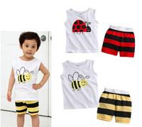 new fashion 2014 baby clothing set bee and ladybug design vest top + pants  2pcs toddler suit