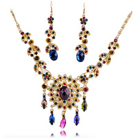 Hot Women's Crystal Drops Jewelry Sets Fashion Accessories Set For Lady Free Shipping  NE-042