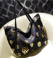 Canvas bag 2014new European and American fashion handbags tidal range of children gilt skull bag handbag shoulder bag handbag
