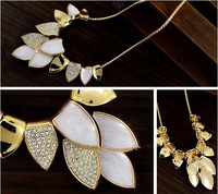 Free shipping colar de ouro fashion design leaves pattern silver jewelry hot sale colorful zinc alloy wedding golden necklace