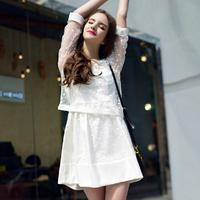 8215 2014 spring fashion white polka dot lace shirt twinset one-piece dress female