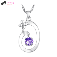 Free shipping Four leaf clover flower 18k platinum female necklace purple diamond pendant 007