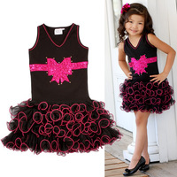 2014 Children's clothing baby girls V-neck short-sleeve bow dress vest layered cake dresses