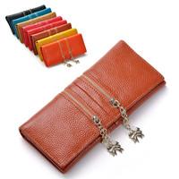 2015 fashion genuine leather wallet female purse long designer brand women wallets