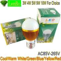 8PCS/lot High Power E27 LED Lamp Cool Warm White Bulb 3W 4W 5W 9W 10W Light 110V 240V Globe Gold-case LB3