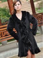 Chopop Fur 2014 High Quality Genuine Mink Fur Coat Women's Warm Coat Fashion Fur Garment Mink Knitted Coat EMS Free Shipping