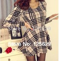 New Arrival Fashion Women's One-Piece Checkered Plus Size Dress Slim Plaid Pattern Dresses Women Long Sleeve Casual Dress 2014