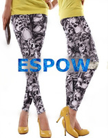 2014 NEW fashion color skull head printed graffiti leggings
