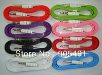 free shipping High quality Candy Color 3.5 mm big Noodle AUX Cable for iphone samsung blackberry