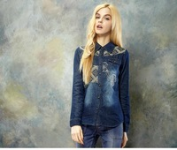 2014 New Fashion Denim Shirt for Women Spring and Autumn Embroidery Floral Turn down Collar Long Sleeve Vintage Blouse