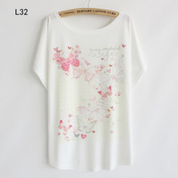 2014 New Arrive Chinese Style Printing Beautiful Butterfly Women's Cotton T-shirt One Big Size  Free Shipping 49216