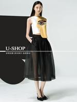 European American Brand 2014 Runway New Arrival Personality Eye Print Tank + Black Mid-Calf Summer 2 Piece Dresses