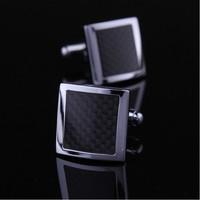 New Mens Business Silver Carbon Fiber Cufflinks Shirt Cufflinks Wedding Groom Men Cuff Links Business Silver Cufflinks For Mens