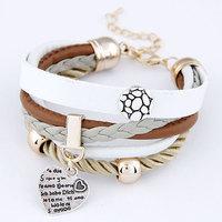 2014 Fashion Joker Peach Heart Pendant Simple Round Metal Bracelet Leather multi- Bracelet For Woman Jewelry Wholesale