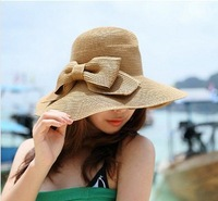 Korean female double folding bow hat summer beach hat sun hat Dayan Mao ultraviolet