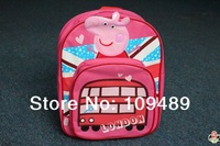 Free shipping 2013 New Cute Peppa Pig Plush Backpack Child PRE School Bag Toddler Size Retail