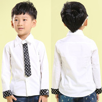 Child shirt 2014 preppy style male child baby tie long-sleeve shirt white shirt 7d