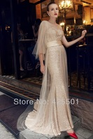 Dress Evening 2014 Party Dresses Elegant Tulle And Gold Sequin Dress One Shoulder Long Formal  Evening Dress Gowns