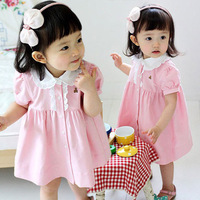 2014 summer female child bear pink short-sleeve dress princess dress baby skirt children's clothing 10f
