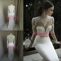 Vestidos De Noiva 2014 New Arrival Sexy Long Sleeves Sheer Lace Mermaid Wedding Dresses Satin Bridal Weddings & Events BO3910