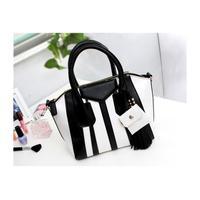 Fashion Black&White Stripes Womens business Handbag PU leather Shoulder Bag