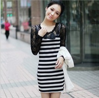 2014 New Arrival !! Stylish Bodycon Lady Women striped Lace Dress Slash O-Neck fullsleeve Mini Dress